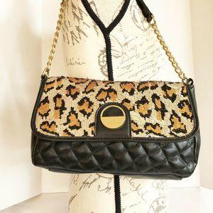 Kate Landry Sequin Leopard Print Shoulder Bag